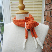 Fox Collar, Mini Fox Stole, Fox Neckwarmer, Handknitted Fox Collar, Fox Mini Scarf, Fox Collar in Orange