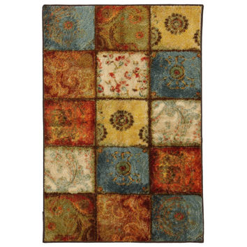 5-Ft x 8-Ft Indoor / Outdoor Area Rug with Squares Patchwork Pattern