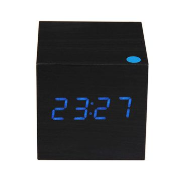 Wood Square Blue LED Alarm Digital White Desk Clock Wooden Thermometer USB/AAA Thermometer Date Display Vioce Touch Activated