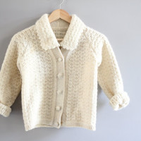 Hand knitted petite ivory cream fishermen cable knit minimialist pure wool cardigan xs to small