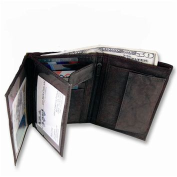 Mens Black/Brown Leather Bifold Max Wallet - Engravable Personalized Gift Item