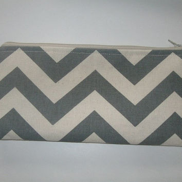 "Long Cosmetic/Clutch/Pencil Zippered Case gray chevron duck fabric- Bridesmaids - 10""x4.5"""