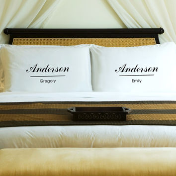 Personalized Couples Pillow Case Set - Classic