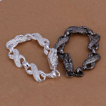 silver plated black white dragon jewelry sets silver-plated bracelets SMTS 96 MP