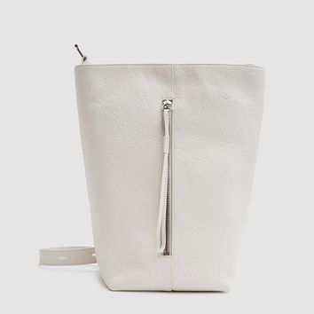 Kara / Pebble Leather Panel Bucket Bag in Off White