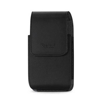 REIKO VERTICAL LEATHER POUCH XXXL  WITH MEGNETIC AND BELT CLIP IN BLACK (6.38X3.53X0.62 INCHES PLUS)