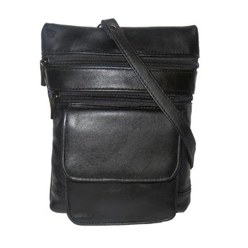 Leather Multi Pockets Crossbody Purse with Belt Loops
