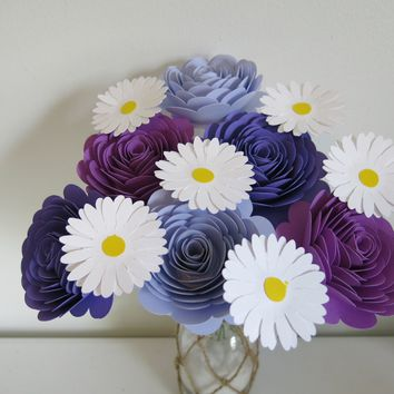 "Shades of Purple 3"" Roses & Daisies on Stems, One Dozen, Bouquet for Wife, Wedding Decorations, Bridal Shower Decor, Table Centerpiece Ideas"