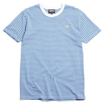 Embroidered Hand Logo Striped T-Shirt Ocean