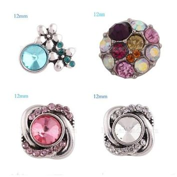 10pcs/lot Mix rhinestone Snap Button Jewelry Ginger Snaps 12mm Christmas Gift Fit Charm Bracelet Jewelry KS6176-S