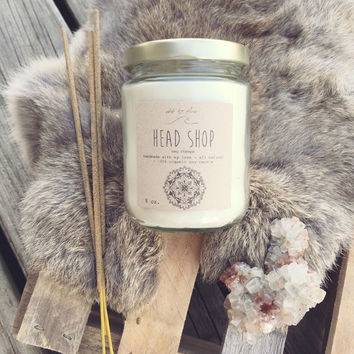 head shop ~ large 9oz organic soy nag champa candle ~ classic incense scent ~