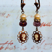 Audrey ~ Vintage Cameo Earrings - Czech Glass Pearl Bead - Amethyst Cruller Bead - Brass Rhinestone - Copper Setting - Maddie Jean Vintage
