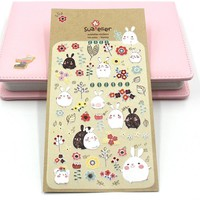 Korean Style Bonny Diary Stickers Planner Sticker Sticky Notes Papeleria Children Decorate Stationery Sticker