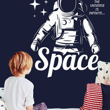 Astronaut Space Explorer Wall Decal, Spaceman Wall Sticker, Space Themed Bedroom Wall Decor, Space Bedroom Decal, Kid Space Decor se053