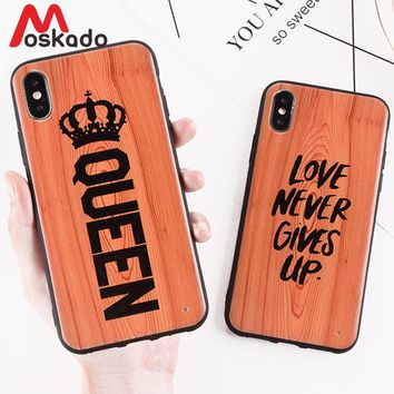 Moskado QUEEN KING Crown Couples Phone Cases For iphone X 8 7 6 6S Plus Glossy TPU+PC Back Cover Antique Wood Pattern Case Coque