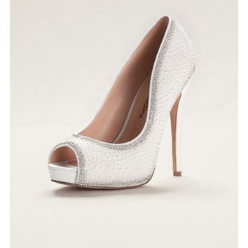 Pearl and Crystal Peep Toe Sandals - Davids Bridal