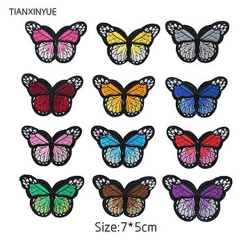 TIANXINYUE 12 pcs Butterfly Patches Iron On DIY Embroidered Appliques Sew On Stickers For Clothing fabric Bags