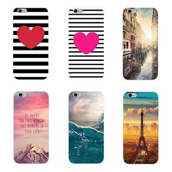 New Pattern Phone Cases For iPhone 7 6 6S 5S SE 5 Fruits Animals Flowers mountains Printed Cover Capa Hard PC Case Fundas