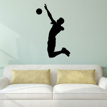 Volleyball Wall Sticker Decal - Male Defense Player Blocking Silhouette Decoration - #9