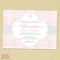 Damask Pink Communion Invitation - Printable File by 505 Design Paperie