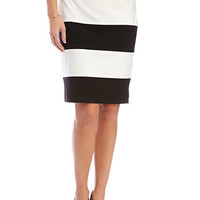 Nine West Stretch Crepe Wide Striped Skirt