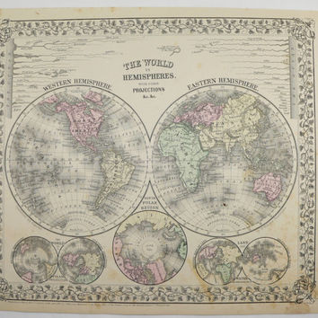 Antique Hemisphere Map Vintage World Globe Northern Hemisphere Southern Hemisphere Old 1871 Mitchell Unique Gift for Home Office Wedding