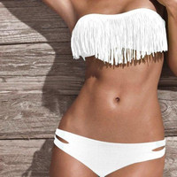 White Fringe Bikini SMALL Top and MEDIUM Bottom