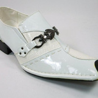Mens Golden Horse Studded Tip Sword Buckle Loafers Dress Shoes M0734-23 White