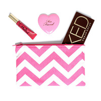 Hot Pink and White Chevron Print makeup bag