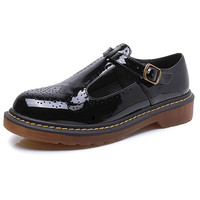 Patent Leather Cut-out Buckle Strap British Style Creeper