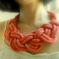 Continuous Eight Figure Knot Chunky Necklace,scarf,Infinity Knot, Wool Nautical Necklace, Salmon/Persimmon statement necklace, bib necklace