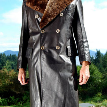 Vintage 60s Mens Long Leather Coat With Fur 42 Double Breasted Shearling Collar Sheepskin, Dark Brown Winter Trench Coat Full Length Mad Men