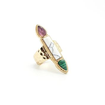 Natural Stone Rings Fashion Gold Palted Stone Malachite Stone Ring for Women Jewelry 171127