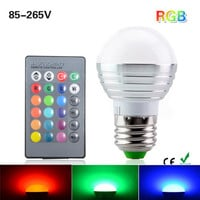 Christmas Lighting E27 9W RGB LED Lamp 110V 220V 16 Color Change RGB Bulb Light Lamp With Remote Control Lampara Bombillas LED