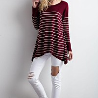 Maroon and White Striped Sweater