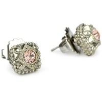 Sorrelli French Blush Vintage Style Crystal Stud Silvertone Earrings - designer shoes, handbags, jewelry, watches, and fashion accessories