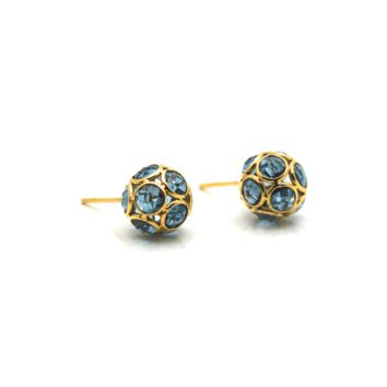 Tresor Collection - Gemstone  Origami Sphere Ball Stud Earrings 18k Yellow Gold