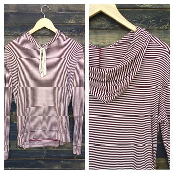 A Tee Hoodie in Burgundy Stripes
