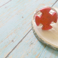 Maltese Cross Ring / Red Maltese Cross / Firefighter Wife / Howlite Ring / Wire Work Ring / Statement Rings / Stone and Wire Rings