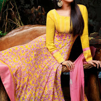 Yellow and Pink Anarkali Suit