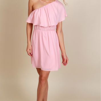 Brush It Off One Shoulder Dress Blush