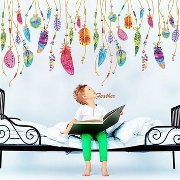 ICIKU7Q Feather Wall Sticker Classic Dream Catcher Sofa Art Decal Mural Lucky Room Decor