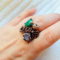 Copper ring transformer. Amethyst ring. Emerald ring. Mix of rings. Large ring. Stacking Rings, Stackable Rings, Stacking Ring Set, Boho.