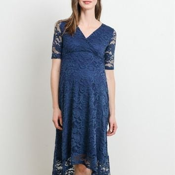 Floral Lace Maternity & Nursing Hi-Low Surplice Dress