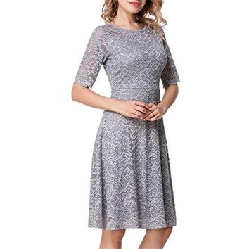 Unbranded* Elegant Women's Fashion Lace Overlay Short Sleeve Boutique Swing Dress