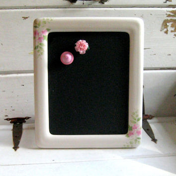 Framed Magnet Chalkboard, french memo board for Wedding menu or office, photo display in a ceramic frame