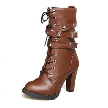 Buckle Zipper Lace up Leather Boots