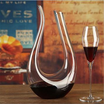 Glass U-shaped Horn Wine Decanter
