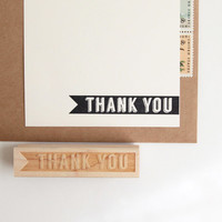 Thank You Rubber Stamp in Retro Typography, Original Midcentury Modern Design (Wood Mounted) with optional wooden handle