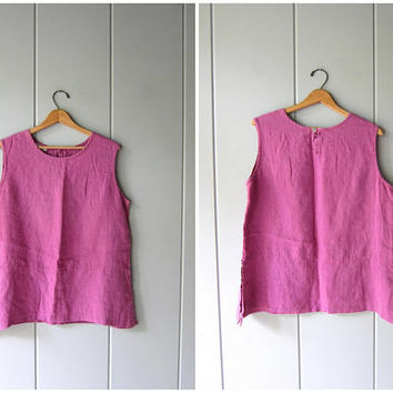 Minimal Linen Tank Top 90s Vintage Modern Easy Tank Oversized Sleeveless Blouse Pink Purple Casual Summer Linen Tunic Womens Medium Large